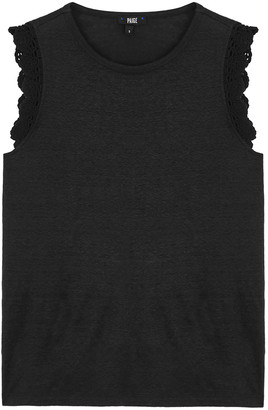 Paige Lilith black crochet-trimmed linen tank