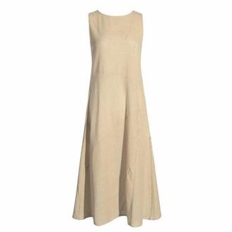 WOZOW Linen Dresses for Women UK Summer Dress Midi Striped Dress Sleeveless Tank Dress with Pockets Elegant Blue 10