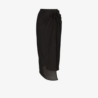 Anémone Wrap Front Midi Skirt