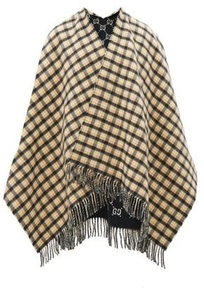 Gucci Check Monogram-jacquard Wool Poncho - Navy