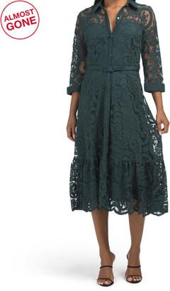 Lace Midi Shirt Dress