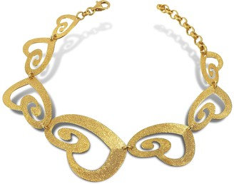 Stefano Patriarchi Etched Golden Silver Cut-Out Heart Link Bracelet