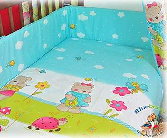 Camilla And Marc BlueberryShop Baby Cot Duvet and Pillow Covers Bedding Set, 150 x 120 cm, Blue Teddy, 2-Piece