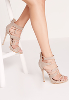Missguided Strap Detail Platform Barely Theres Nude