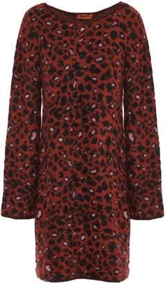 Missoni Leopard-print Brushed Jacquard-knit Mini Dress