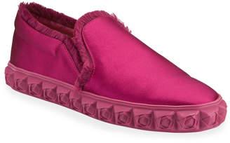 Stuart Weitzman Fringie B Satin Fringe Slip-On Sneakers