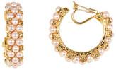 Carolee Imitation Pearl Hoop Earrings