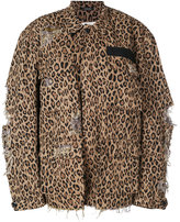 R 13 shredded trim leopard print jacket