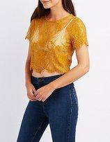 Charlotte Russe Eyelash Lace Crop Top