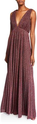 Jill Stuart Metallic Knit V-Neck Sleeveless Pleated Gown