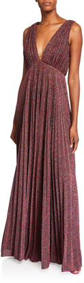 Jill by Jill Stuart Metallic Knit V-Neck Sleeveless Pleated Gown