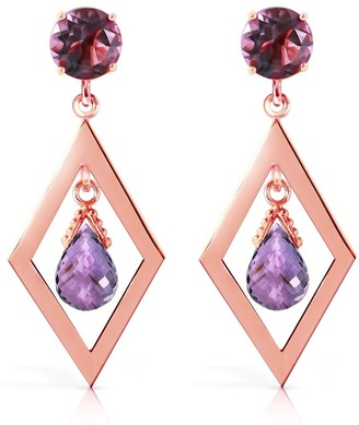Overstock 2.4 Carat 14K Solid Rose Gold Chandelier Earrings Amethyst