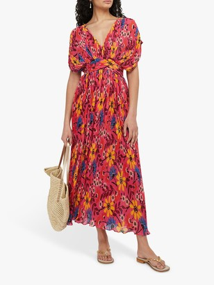 Monsoon Nellie Floral Print Pleated Dress, Multi