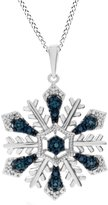 Jewel Zone US Blue & Diamond Accent Snowflake Pendant in 14K Gold Over Sterling Silver