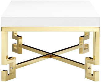 Pangea Home Sophia Side Table, White Lacquer and Gold