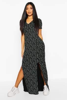 boohoo Ditsy Print Split Detail Jersey Maxi Dress