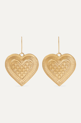 Ileana Makri Cross My Heart 22-karat Gold Earrings