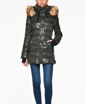 S13 Chelsea High-Shine Faux-Fur-Trim Hooded Down Puffer Coat