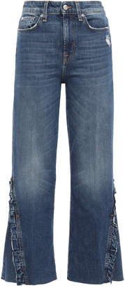7 For All Mankind Ruffle-trimmed Frayed High-rise Kick-flare Jeans