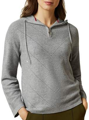 Ted Baker Lucilli Chevron Knit Hooded Sweater