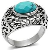 Mai Jewelry Shop & Hair Accessories Stainless Steel Synthetic Turquoise Dome Style Mens Ring