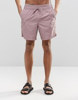 Asos Mid Length Swim Shorts In Pink With Double Waistband