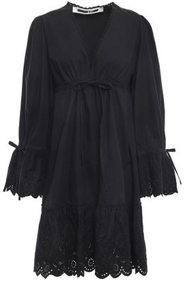 McQ Broderie Anglaise-paneled Cotton-poplin Shirt Dress