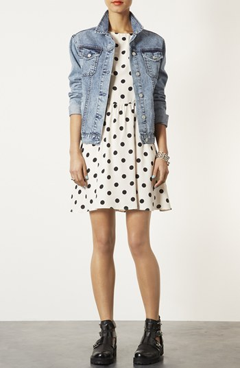 Topshop Moto 'Sylvie' Acid Wash Denim Jacket