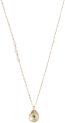 Poppy Finch 14k Gold Pearl and Emerald Petal Pendant Necklace