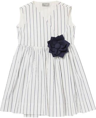 Il Gufo Striped Cotton Dress W/Applique