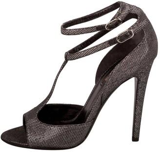 Roberto Cavalli Metallic Black Glitter Fabric T Strap Double Buckle Sandals Size 38.5
