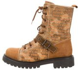 Moschino Suede Lace-Up Boots