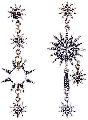 Don't Ask Don't AsK Women's Earrings Gunmetal - Crystal & Gunmetal-Tone Pave Sunburst Drop Earrings