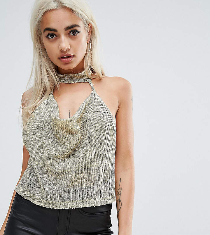 Asos Top With Cowl Neck In Chain Mail