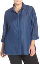 Foxcroft Plus Size Women's Tencel Denim Tunic Shirt