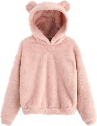 Whycat Winter Fuzzy Teddy Bear Hoodie Women Bear Ear Hooded Fleece Hoodie Pullover Sweatshirt Jumper Fluffy Cute Teen Girls School Casual Soft Chunky Tops Outwear (Pink 16)