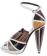 Rodarte Embossed Metallic Platform Sandals