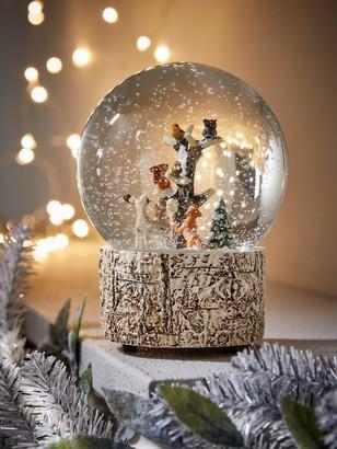 Gisela Graham Woodland Animals Musical Snow Globe Christmas Decoration