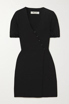 Madewell Wrap-effect Crepe Mini Dress - Black