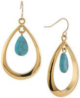 Lauren Ralph Lauren Gold-Tone Blue Stone Teardrop Orbital Drop Earrings