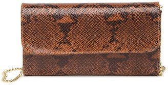 Roberta M Snakeskin Printed Leather Crossbody Clutch