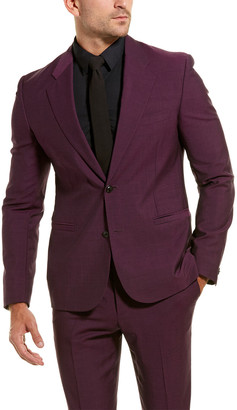Versace 2Pc Wool & Mohair-Blend Suit With Flat Pant