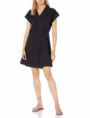The Drop Women's Joanie Short Sleeve Wrap Front Utility Mini Dress
