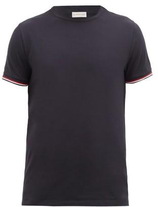 Moncler Striped-cuff Cotton-blend T-shirt - Navy