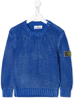 Stone Island Junior Long Sleeve Cable Knit Jumper