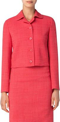 Akris Glen Plaid Double Face Wool Blend Crop Jacket