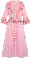 Temperley London Wildflower Embroidered Cotton And Silk-blend Midi Dress - Pink