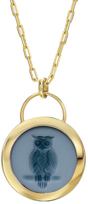 Retrouvai Owl Signature Black Agate Padlock Intaglio Necklace - Yellow Gold