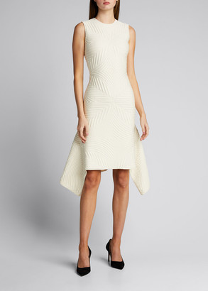 Alexander McQueen Textured Asymmetric Wool-Blend Dress