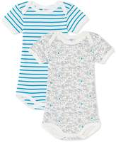 Petit Bateau Set of 2 baby boys printed and striped bodysuits